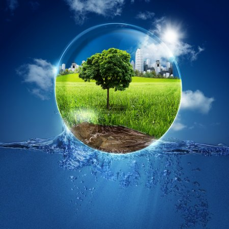Photo for Green world into the bubble. Abstract natural backgrounds for your design - Royalty Free Image