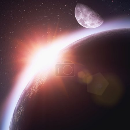 Rising sun over the planet Earth, abstract backgrounds. No NASA