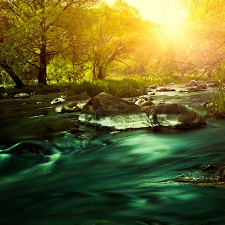Photo for Sunset on the mountain river, environmental backgrounds - Royalty Free Image