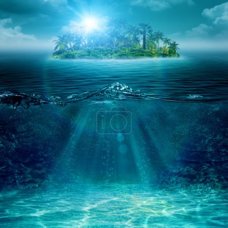 Photo for Alone island in ocean, abstract environmental backgrounds - Royalty Free Image