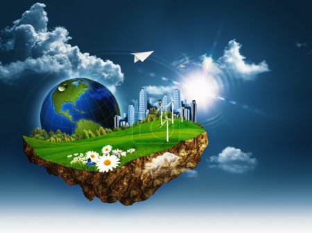 Photo for Flying island. Abstract eco and environmental concept - Royalty Free Image