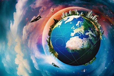 Photo pour Planète terre. horizons de vacances et voyage contre un ciel bleu - image libre de droit