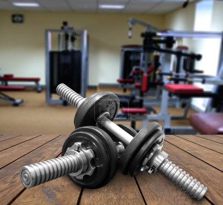 Photo for A gym Weights, and stationary equipment - Royalty Free Image