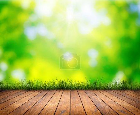 Foto de Madera textura fondos en un interior de sala en los fondos de campo del cielo - Imagen libre de derechos