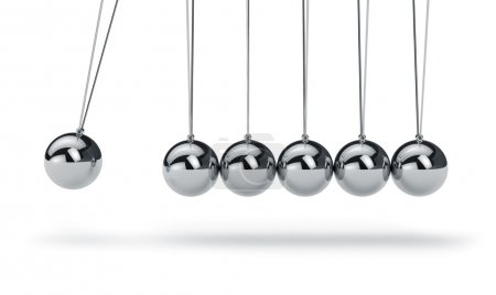 Photo for Metal Newton's cradle isolated on white background - Royalty Free Image