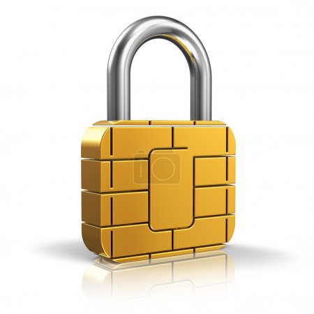 Photo for SIM card or credit card security concept: golden padlock from card microchip isolated on white background with reflection effect - Royalty Free Image