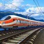 High speed train driving across mountain scenery w...