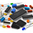 Group of various electronic components: microproce...