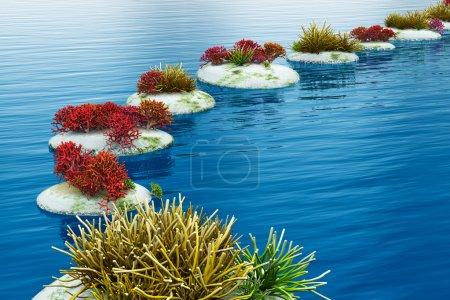 Photo pour Chemin de Zen de pierres de galets sur la surface de l'eau bleue - image libre de droit
