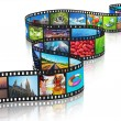 Streaming media concept: filmstrip with colorful p...