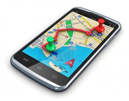 Photo pour Concept de voyage, de tourisme automobile et de planification d'itinéraire : application GPS de navigation par satellite dans un smartphone noir brillant moderne ou un téléphone portable à écran tactile isolé sur fond blanc - image libre de droit
