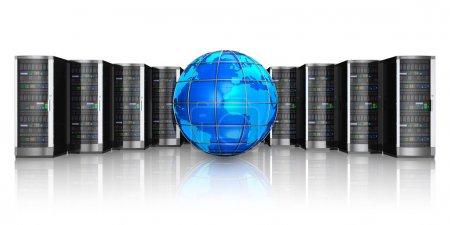 Network servers and Earth globe