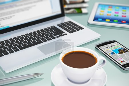Photo for Modern office business workplace with laptop PC, touchscreen smartphone, tablet computer and white porcelain cup of black coffee. Selective focus effect - Royalty Free Image