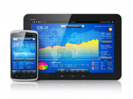 Photo pour Mobile business concept: stock exchange market application on modern black glossy touchscreen smartphone and tablet PC computer isolated on white background with reflection effect - image libre de droit