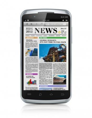 smartphone avec des nouvelles affaires
