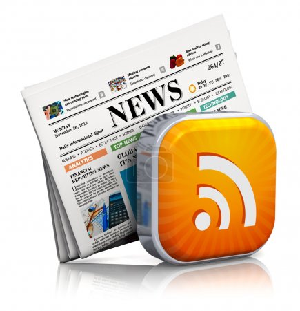 Internet news and web RSS concept: orange RSS symb...