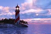 """Постер, картина, фотообои """"Драматические закат с Маяк на острове в море"""""""