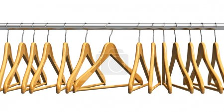 Photo for Row of coat hangers on metal shiny clothes rail isolated on white background - Royalty Free Image