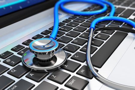 Photo for Healthcare and medicine or computer antivirus protection and repair maintenance service concept: macro view of blue stethoscope on business office laptop notebook keyboard with selective focus effect - Royalty Free Image
