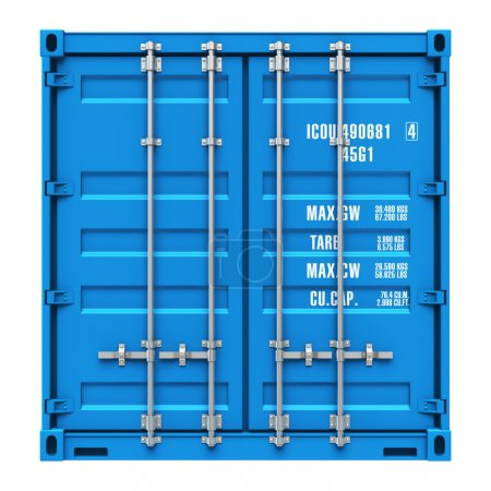 Photo for Side profile view of blue cargo freight container isolated on white background - Royalty Free Image