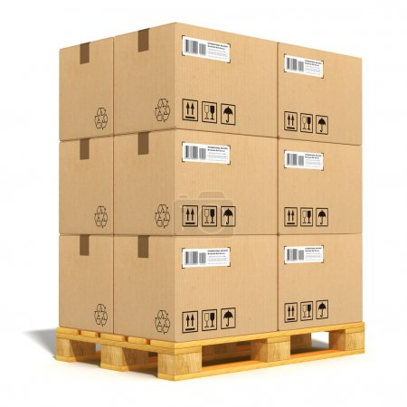 Photo for Cargo, delivery and transportation industry concept: stacked cardboard boxes on wooden shipping pallet isolated on white background - Royalty Free Image