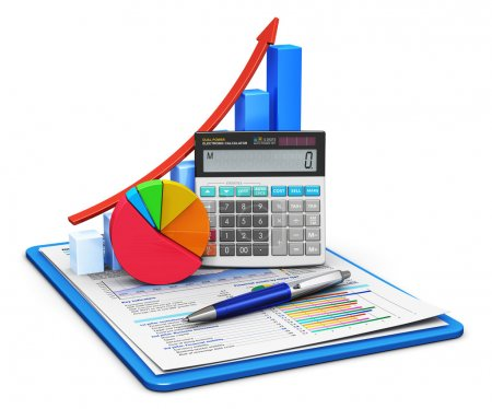 Photo for Business finance, tax, accounting, statistics and analytic research concept: office electronic calculator, bar graph and pie diagram and pen on financial reports in clipboard with colorful data isolated on white background - Royalty Free Image