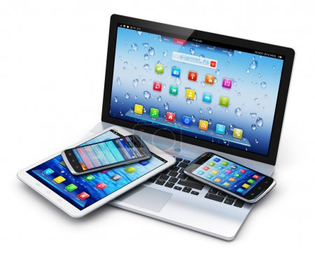 Foto de Mobile devices, wireless communication technology and internet web concept: business laptop or office notebook, tablet computer PC and modern black glossy touchscreen smartphones with colorful application interfaces isolated on white background - Imagen libre de derechos