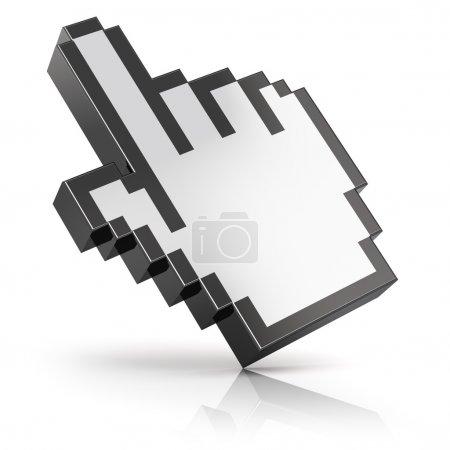 Photo pour Lien sélection main ordinateur souris curseur isolé sur fond blanc avec effet de réflexion - image libre de droit