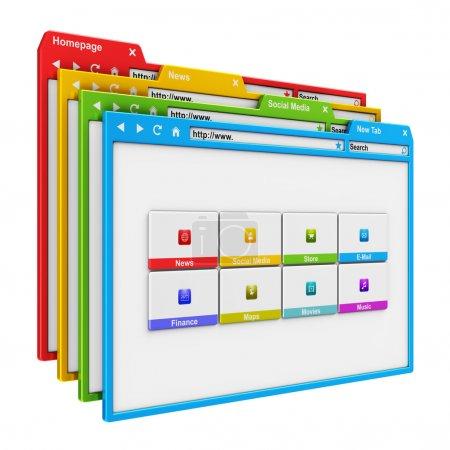 Photo pour Conception de site web et internet concept: groupe d'onglets du navigateur couleur www isolé sur fond blanc - image libre de droit