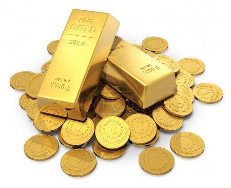 Photo pour Entreprise créative, finance, banque, négociation boursière et concept de richesse : tas de lingots ou lingots d'or et pièces d'argent en or isolées sur fond blanc - image libre de droit