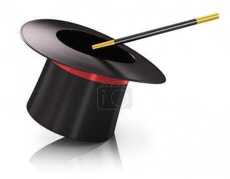 Photo pour Chapeau magique en soie noire avec ruban rouge et bâton de baguette magique isolé sur fond blanc avec effet de réflexion - image libre de droit