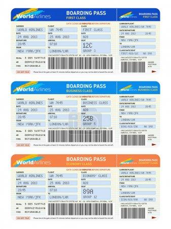 Photo pour Concept de transport aérien commercial voyage : groupe des billets d'avion de couleur pour première, classe affaires et classe économique de voyage isolé sur fond blanc - image libre de droit