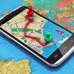 Mobile GPS navigation, travel and tourism concept:...