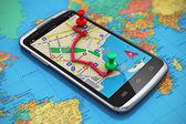 GPS navigace, cestování a turistika koncepce