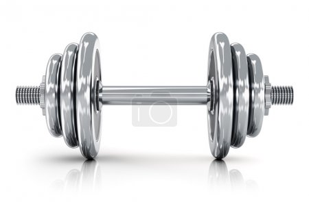 Photo for Creative sport, fitness and healthy lifestyle concept: shiny metal dumbbell isolated on white background with reflection effect - Royalty Free Image