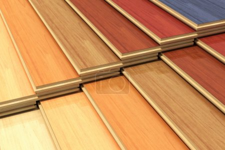 Foto de Timberwork, lumber work, woodwork industry, home renovation and house restoration concept: set of color wooden laminated construction planks - Imagen libre de derechos