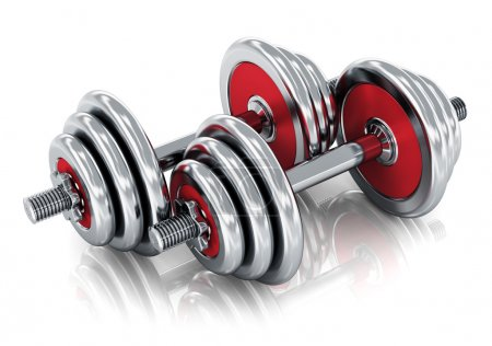 Photo for Creative sport, fitness and healthy lifestyle concept: pair of red shiny metal dumbbells isolated on white background with reflection effect - Royalty Free Image