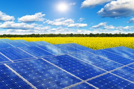 Foto de Tecnología creativa de generación de energía solar, energía alternativa y protección del medio ambiente ecología concepto de negocio: grupo de paneles de baterías solares en el campo de violación rural amarillo contra el cielo azul con luz solar y nubes - Imagen libre de derechos