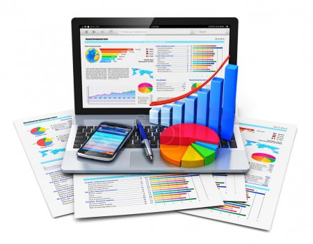 Photo for Mobile office work, stock exchange market trading, statistics accounting, development and banking business concept: modern laptop or notebook computer PC with stock market application software, growth bar chart, pie diagram, ballpoint pen and touchsc - Royalty Free Image