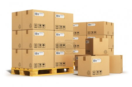 Photo for Creative abstract cargo, delivery and transportation logistics storage warehouse industry business concept: group of stacked corrugated cardboard boxes on wooden shipping pallets isolated on white background - Royalty Free Image