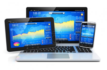 Photo for Stock exchange market trading, banking and financial business accounting concept: modern metal laptop notebook, tablet computer PC and touchscreen smartphone with stock market application software isolated on white background with reflection effect - Royalty Free Image