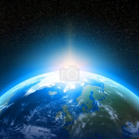 Photo pour Creative abstract global communication scientific concept: space view of sunrise above Earth planet globe with world map in Solar System of Universe - image libre de droit