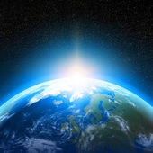 """Постер, картина, фотообои """"планета земля рассматривается из космоса"""""""