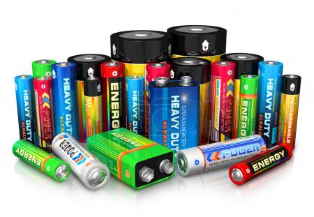 Group of different size color batteries isolated o...