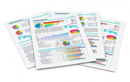 Photo pour Créatif abstrait de la paperasserie d'affaires et de travail de bureau concept d'entreprise : pile de documents papier avec des rapports financiers avec des graphiques à barres de couleur, des graphiques à secteurs et des données statistiques isolées sur fond blanc - image libre de droit