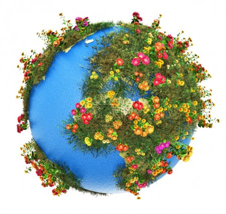 Photo for Creative abstract global ecology and environment protection business concept: mini green Earth planet globe with world map with green grass and color meadow flowers isolated on white background - Royalty Free Image