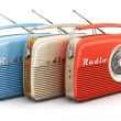 Collection of old color vintage retro style radio ...