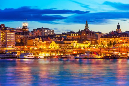 Photo for Beautiful evening scenic panorama of the Old Town (Gamla Stan) pier architecture in Stockholm, Sweden - Royalty Free Image