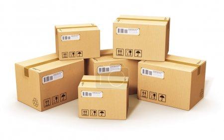 Photo pour Expédition, logistique et livraison au détail concept d'entreprise : empilement de boîtes en carton ondulé isolées sur fond blanc - image libre de droit