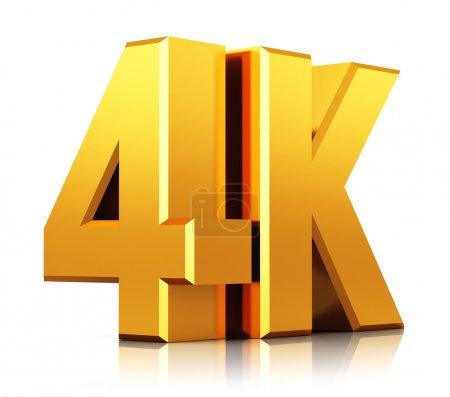 Photo pour Concept créatif abstrait de technologie de télévision ultra haute définition : jaune doré 4K UltraHD TV logo signe ou icône symbole isolé sur fond blanc avec effet de réflexion - image libre de droit